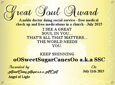 ACA's GOLD AWARD Certificate Of A Great Soul_oOSweetSugarCanesOo